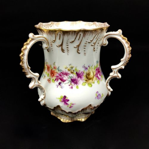 Dresden Loving Cup Vase / Floral Design / Gold Gilt Handles / Rare Collectable